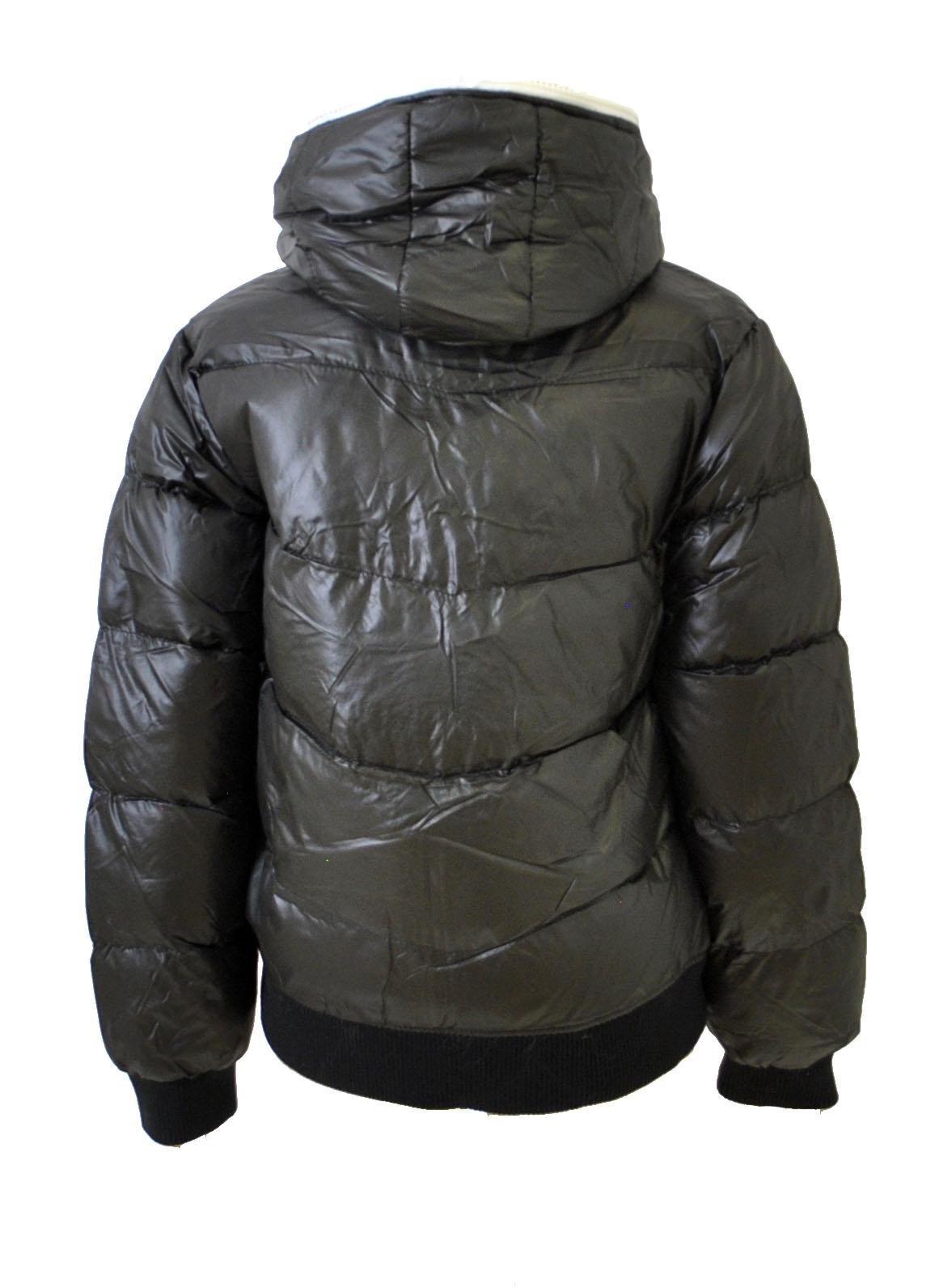 Boys Black Hooded Bubble Jacket
